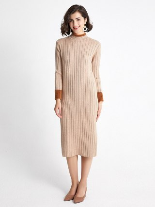 Autumn Winter Sweater Women Knitted Dresses Elegant Lady Half Turtleneck Long Sleeve Elastic Sweater Dress Female Slim Dress