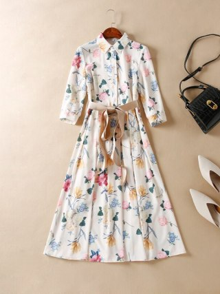 Women Runway Dress 19 High Quality Turn-Down Collar Half Sleeve Printed Elegant Dresses Casual Dress NP0343N