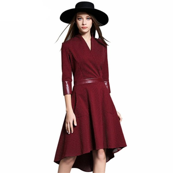 Vintage Irregular Dress Autumn PU Patchwork V Neck Half Sleeve Slim Party Dresses Vestidos Office Work Black Red Plus Size