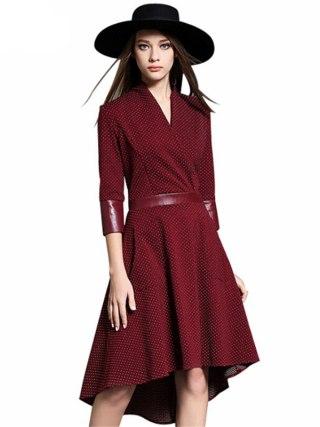 Vintage Irregular Dress Autumn PU Patchwork V Neck Half Sleeve Slim Party Dresses Vestidos Office Work Black Red Plus Size