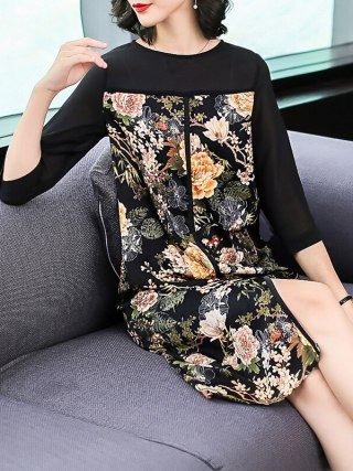 Plus Size Women Clothing Loose Autumn Dresses 18 New Fashion Print Chiffon Casual Costumes Lady Half Sleeves Straight Dress