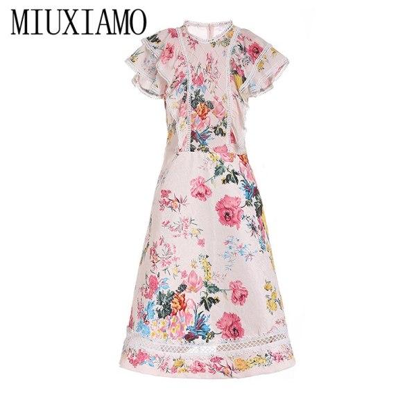 MIUXIMAO 19 New Fashion Runway Summer Dress Women's Retro Half Sleeve Flower Embroidery Star Vintage Dress Women vestidos
