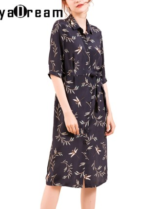 Women Silk dress 23mm 100% Real silk Printed Knee length Heavy Silk Crepe Half sleeved Dresses for Women 18 Fall Winter New