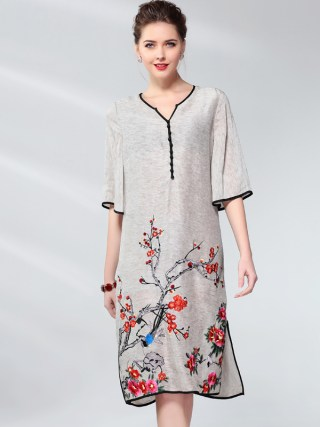 Vintage Dress Women Plus Size Silk Linen Embroidery Spring Summer Fashion V-neck Half sleeve Side split Loose A Line Dress