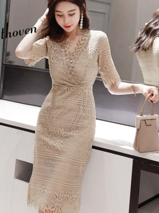 Summer Sheath Lace Dresses V Neck Half Sleeve Vintage Bandage Dress Women Office Bodycon Sexy Party Midi Ladies Sundress Vestido