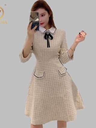 SMTHMA New Spring High Quality Women Plaid Tweed Party Dress Women Turn Down Collar Half Sleeve Dress Vestidos