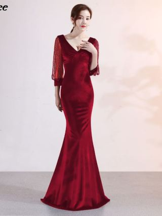 Xnxee Vestido De Festa Sexy Women Elegant Transparent Half Sleeve V-Neck Velvet Long Mermaid Evening Party Dress Xnxee