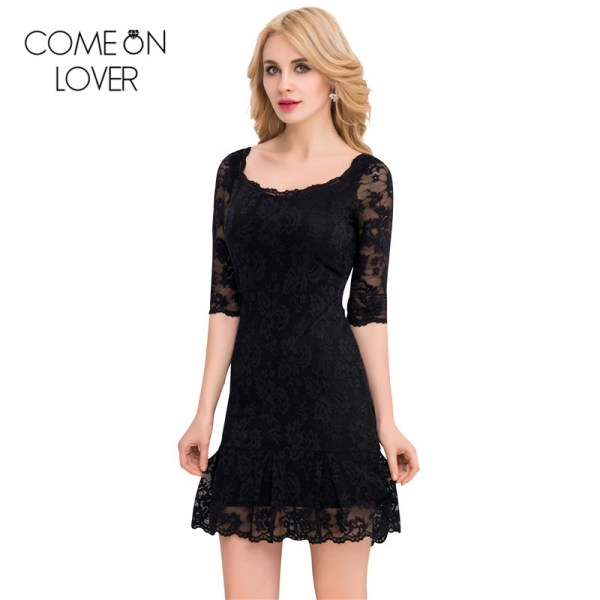 Comeonlover 18 Fashion Summer Dresses VE1046 Back See Through Women s Dresses Woman Half Sleeve Lace Mesh Dresses Floral robe