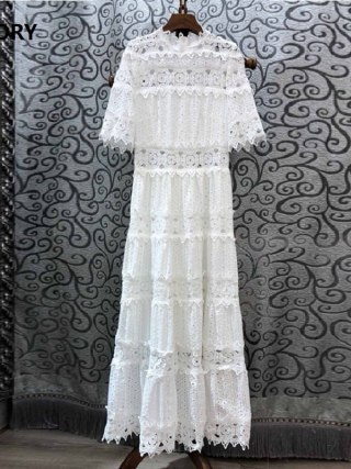 19 Autumn Fashion Long Dress High Quality Women Ruffled Collar Hollow Out Embroidery Half Sleeve Maxi Long Cotton Dress White