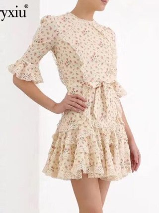 Svoryxiu Runway Designer Autumn Flower Print Mini Dress Women's Fashion Half Sleeve Lace Embroidery Elegant Party Dresses