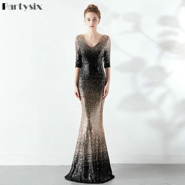 Partysix Elegant Sequins Dress Half Sleeve Evening Party Long Dress