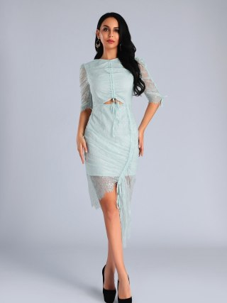 High Quality Light Blue O-Neck Half Lace Sleeve Bodycon Dress Fashion Party Elegant Dress