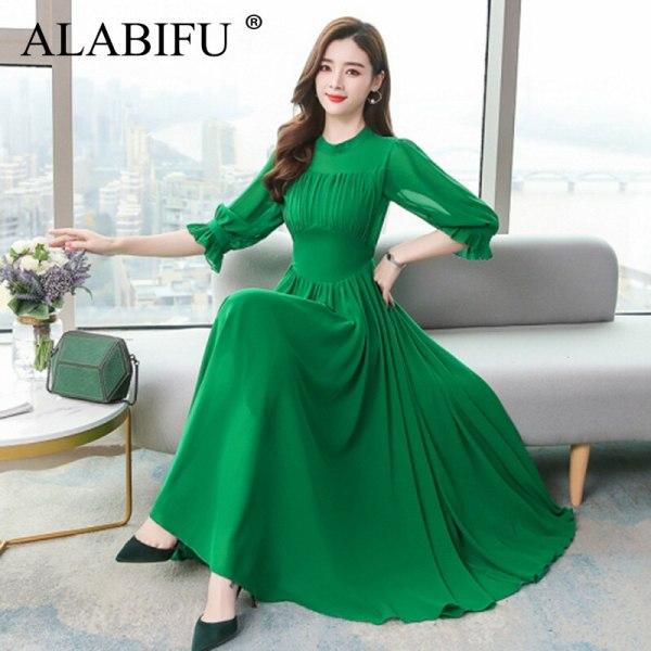 ALABIFU Summer Dress Women Elegant Chiffon Long Ball Gown Dress Fashion Slim Half Sleeve Dresses Women vestidos Plus size