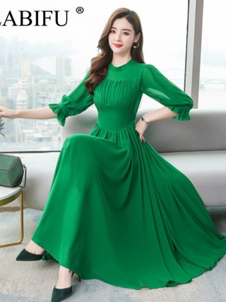 ALABIFU Summer Dress Women Elegant Chiffon Long Ball Gown Dress Fashion Slim Half Sleeve Dresses Women vestidos Plus size