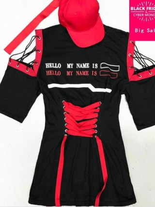 Women Dresses half Sleeves Lace up High Waist Tunics black red Especially Casual New dress