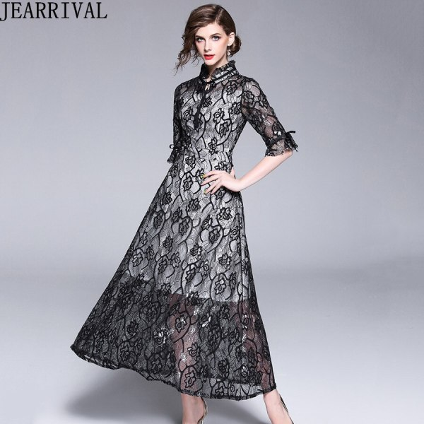 Autumn Fashion Womens Elegant Lace Dress 18 High Quality Half Sleeve Hollow Out Slim Casual Long Dresses Party Vestidos