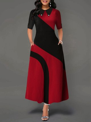 A Line Color Block Office Dress Elegant Women Peter Pan Collar Half Sleeve African Ladies Work Wear Long Maxi Dress Female Fall