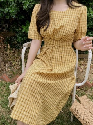 new Summer Dress Women Cotton Linen OL Casual half Sleeve Dresses Female Dress o neck plaid yellow dress Boho Robe Femme Vestido