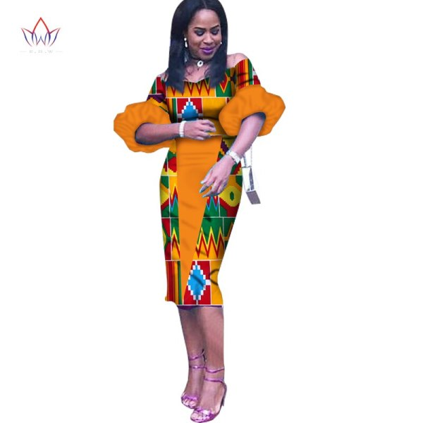 Customized African Print Clothing Half Sleeve Knee Dress Summer Women Party Dresses Plus Size African Clothing 6XL BRW WY1243