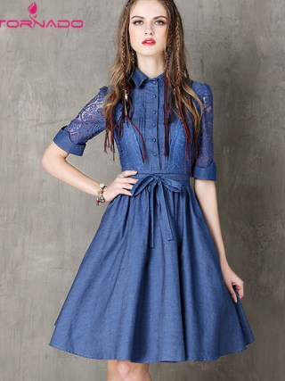 Women Hollow Out Half Sleeve Denim Dress Turn-Down Collar Blue Casual Work Dresses Short Jeans Dress Blue Vestido with Belt