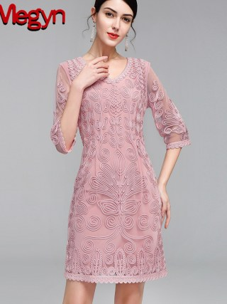 by Megyn 19 Vintage Women Fashion Blue Lace Runway Party Dresses Half Sleeve embroidery A-Line Knee-length Dress plus size 4XL