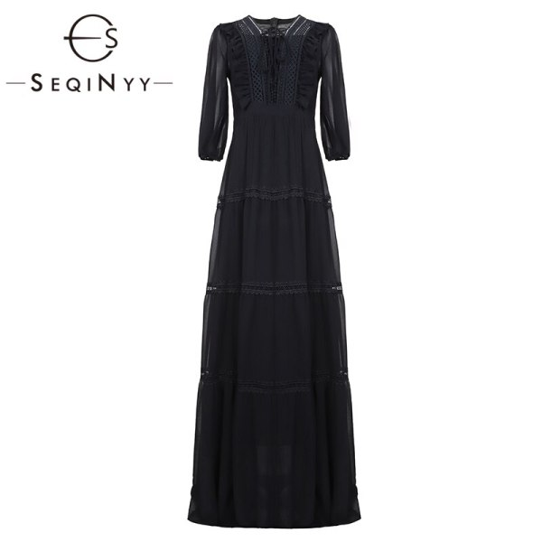 SEQINYY Chiffon Long Dress 19 Summer Spring New Fashion Design Half Sleeve Bow Lace Ruffles Elegant Maxi Dress Women