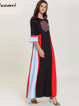 19 Autumn Women Casual Loose Cotton Long Dress Red Black Patchwork Elegant Floral Embroider Maxi Long Dresses Plus Size 4XL