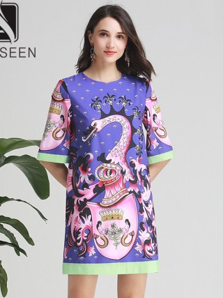 AELESEEN Women Beaded Dresses 19 Summer High Street Half Sleeve Coloful Animal Print Diamonds Straight Mini Loose Dress