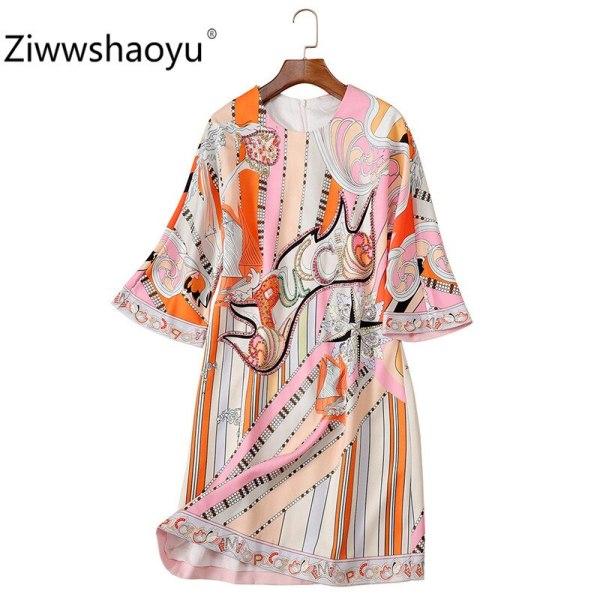 Ziwwshaoyu 19 New Autumn Geometric Print Loose Dress Women's Fashion Half Sleeve Crystal Beading luxury Dresses