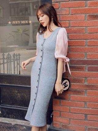 YIGELILA Autumn Patchwok Half Sleeves Dress V-neck Single-breasted Long Dress Lantern Sleeves Mid Calf Sheath Dress 65317