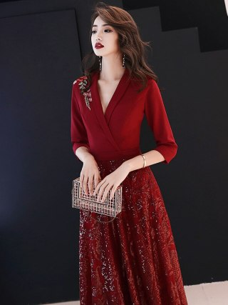 19 New Autumn Winter Dress Half Sleeve Temperament Red Dress Female Sexy V-neck Shoulder Embroidery Women Dress Sequin Dress