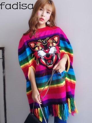 Vefadisa Women Rainbow Color Striped Tassel Sweater Dress Embroidery Tiger Head Cloak Dress DQ538