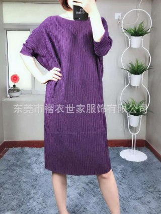 HOT SELLING Miyake Fashion fold o-neck half sleeve Embossed loose batwing sleeve dress IN STOCK