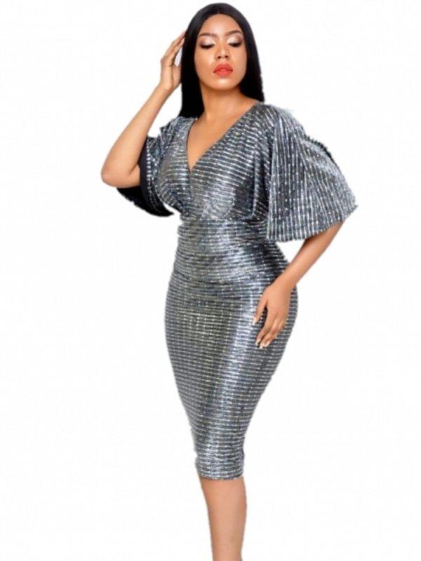 Hot Sell Summer Women Office Dress Lady Rilling Flare Sleevees Deep V-Neck Party Sexy Elastic Pencil Dresses Festa De Vestidos
