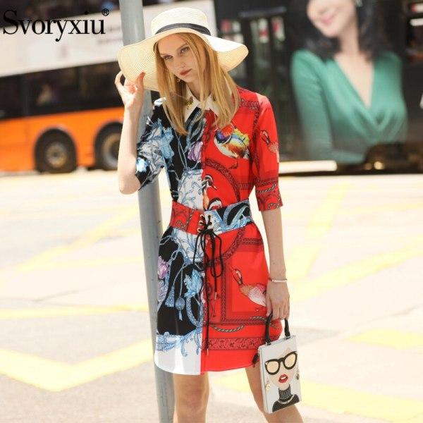 Svoryxiu Fashion Designer Summer Girdle Dress Women's Elegant Beading Half Sleeve Color Matching Printed Dress Vestdios