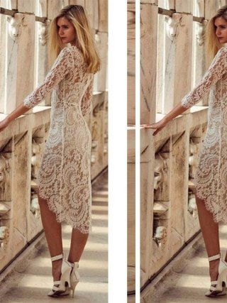 Sexy Summer Lace Bodycon Party Pencil Dress Half Sleeve Knee-Length Dresses For Women Sexy V-neck Lace Slim Pencil Dress Vestido