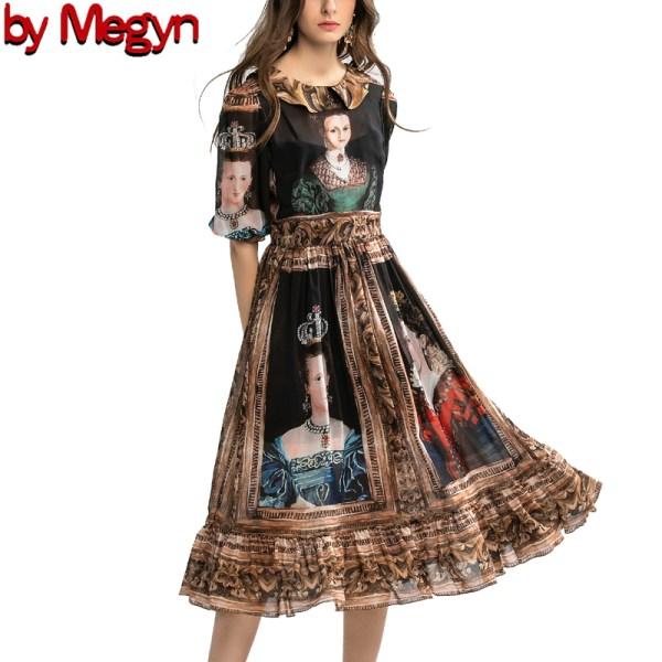 spring summer high fashion dress runway party women dress queen print women fashion new year dress designer brand dress