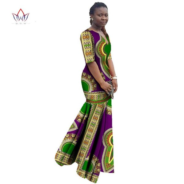 African Dresses for Women Dashiki African Print Clothing Half Sleeve Mermaid Dress Maxi Dress BRW Plus Size 6XL WY406