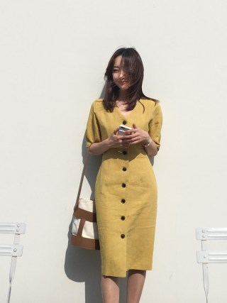 New Summer Dress Women Cotton Linen OL Casual Half Sleeve Dresses Female Dress V neck Solid Yellow Dress Boho Robe Femme Vestido