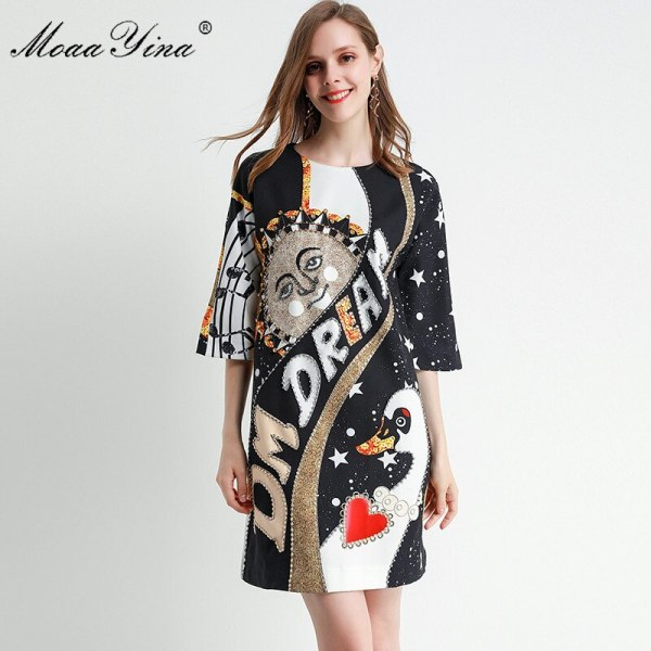 MoaaYina Fashion Designer dress Spring Summer Women's Dress Half sleeve Crystal Beading Loose Dresses