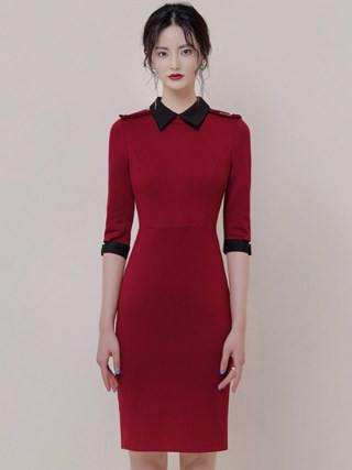 Autumn Turn-Down Collar Half Sleeve Red Vestidos Bodycon Pencil Brief OL Office Lady Dress