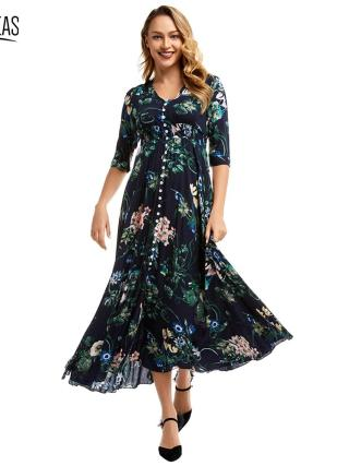 Kureas Chiffon Maxi Dress Women Fashion Floral Printed Half Sleeve Long Dresses Single Breasted Button Decor