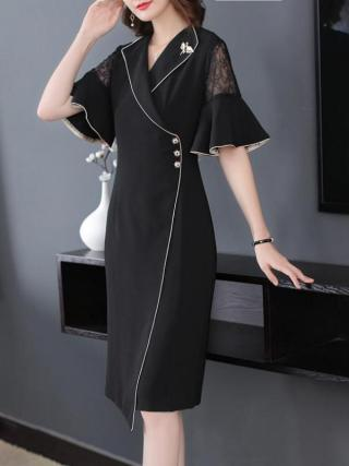 Fall Summer Elegant Women Suit 17 Ruffle Half Sleeve Lace Patchwork Black Dress , Office Lady Female Slim Xxl Button Dresses