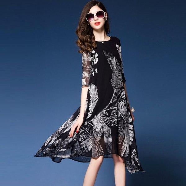 Western Fashion Floral Print Dresses Woman Half sleeve Brand Vestidos Mujer 18 Elegant Rayon Dress Summer new dress black