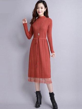18 Women Autumn Winter Sweater Dress new Slim half Turtleneck Long Sleeve Sexy Lady Bodycon Robe Lace Knitted Dresses Vestidos