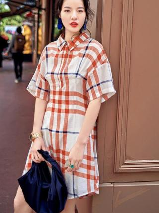 Summer Designer Polo Shirt Dress Half Sleeve Plaid Short Dress Vintage Casual Sundress Vestidos