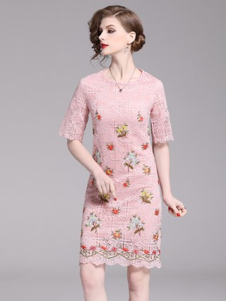 HAMALIEL Pink Lace Floral Pencil Fashion Dress Summer Women Embroidery Half Sleeve Bodycon Slim Dress Elegant Hollow Out Dress