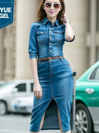 Half Sleeve Sexy Stretchy Spring Fashion Split Wrap Denim Dresses Medium Length Single Breasted Slim Fit Female Sheath Dresses