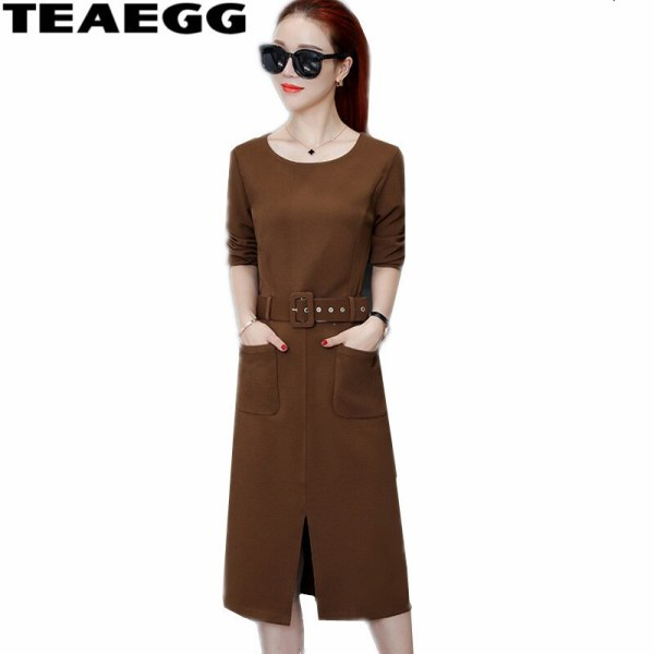 TEAEGG New Half Sleeve Autumn Winter Dresses Women 19 High Quality Casual Ladies Dresses Large Sizes Woman Dress Robe AL481
