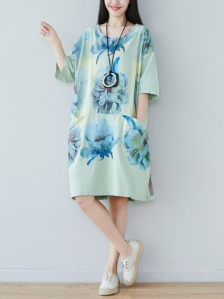new literature and art round collar half-sleeve five-minute sleeve dress